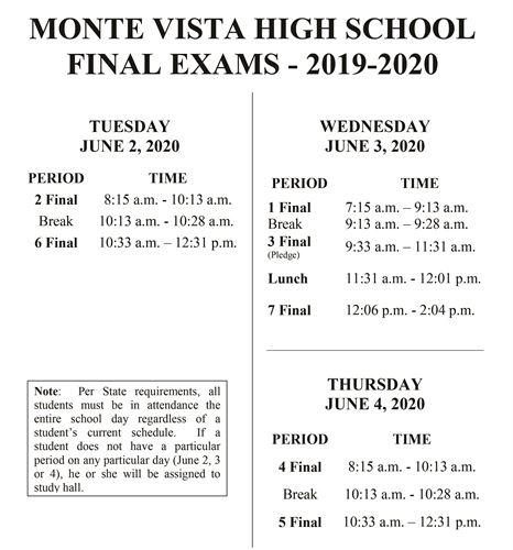 Monte Vista High School - Bell Schedules